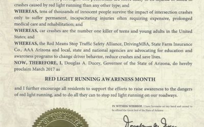 March is Red Light Running  Awareness Month